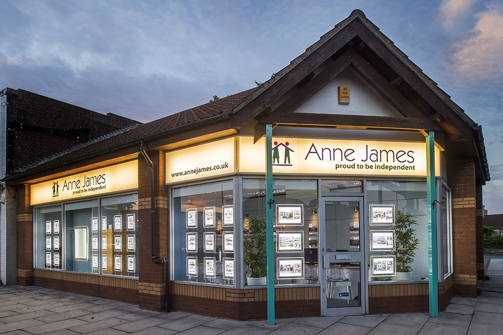 anne james estate agents bristol shop front